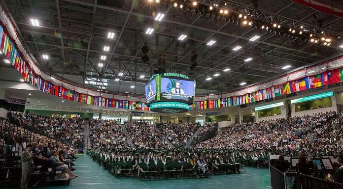 A view of Binghamton University commencement in 2017. Credit: Facebook.