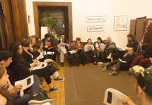 Rabbi Nikki DeBlosi leads a JLF seminar on 'Sex, Love, and Romance' at NYU's Bronfman Center for Jewish Student Life. Credit: Hillel International.
