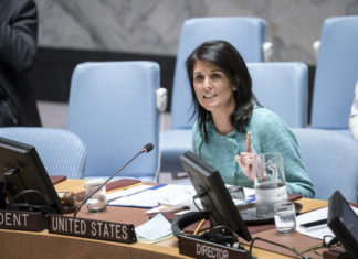 U.S. Ambassador to the United Nations Nikki Haley addresses a U.N. Security Council meeting on the situation in Syria on April 27, 2017. Credit: U.N. Photo/Rick Bajornas.