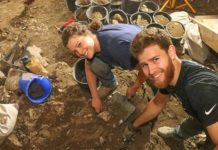 Herbert W. Armstrong college students digging on Ophel in 2018. Credit: Courtesy of Eilat Mazar.
