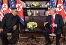 U.S. President Donald Trump and North Korean leader Kim Jong-Un at the Capella Hotel in Singapore on June 12, 2018. Photo courtesy of White House/Wikimedia Commons.