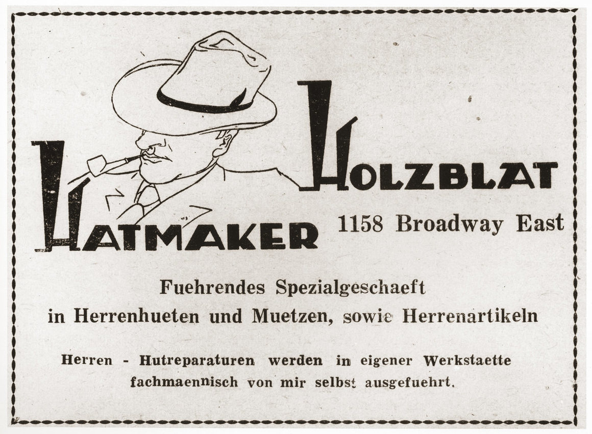 """Advertisement for the """"Holzblat Hatmaker,"""" a Jewish refugee-owned hat and accessory shop for men in Shanghai."""