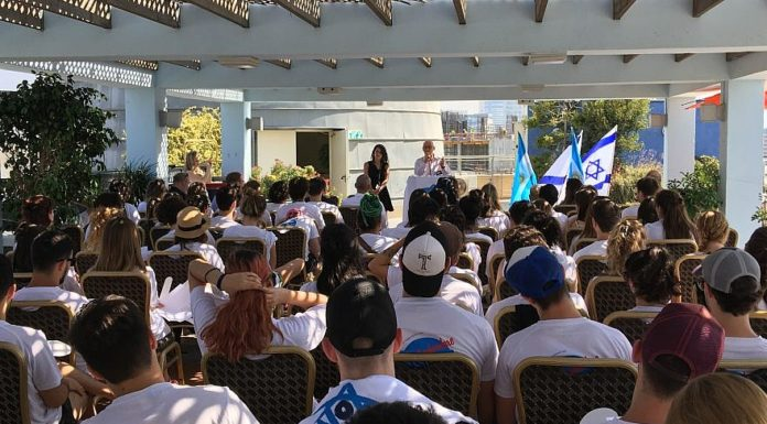 Jorge Zak, vice president of Taglit in South America, addresses the young audience at a memorial for the 85 people killed at the AMIA (Argentine Israelite Mutual Association) building in Buenos Aires, July 18, 2018. Credit: Taglit-Birthright Israel.