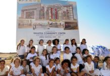 Children of Halutza sit in front of the site of the new state-of-the-art Halutza Community Center. Credit: Jewish National Fund-USA.