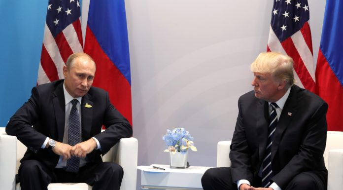 Russian President Vladimir Putin and U.S. President Donald Trump at the G-20 Summit in Hamburg, Germany in 2017. Credit: Wikimedia Commons.