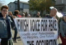 A demonstration in Seattle by the anti-Israel group Jewish Voice for Peace. Credit: Joe Mabel via Wikimedia Commons.