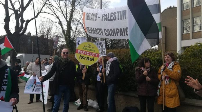 Anti-Israel protesters in Israel as part of the Ireland Palestine Solidarity Campaign. Credit: Ireland Palestine Solidarity Campaign via Facebook.