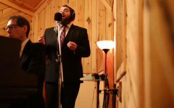 "With jazz backup, Cantor Aryeh Leib Hurwitz sings ""Sheyibone,"" a fundamental Jewish prayer beseeching G-d to rebuild the Beit Hamikdash (Holy Temple), ushering in a period of global unity and harmony. Credit: Courtesy."