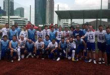 The American Football in Israel men's national team with the Guatemalan team at the World Championships of American Flag Football in Panama. Credit: Courtesy.