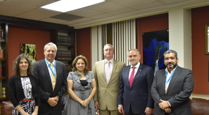 Photo, from left: LAJC Director of Strategic Partnerships Veronica Machtey, President of the Jewish Community of Guatemala Yehudi Sabbagh, Minister of Foreign Affairs of Guatemala Sandra Jovel, Minister of Government of Guatemala Enrique Antonio Degenhart Asturias, WJC CEO Robert Singer, José Garces