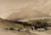 City of Nablus, formerly known as Shechem. Coloured lithograph by Louis Haghe after David Roberts,
