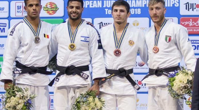 Israel's Sagi Muki (second from left) receives the gold medal on the podium after winning in the men's under 81-kg weight category during the European Judo Championship in Tel Aviv on April 27, 2018. Photo by Roy Alima/Flash90.