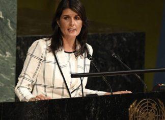 U.S. Ambassador to the United Nations Nikki Haley addresses the General Assembly in June 2018. Credit: U.N. Photo/Evan Schneider.