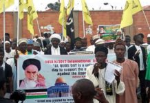 """Iran sponsored an Al-Quds Day rally in Yola, Nigeria, in 2017. Iran's Al-Mustafa International University is responsible for exporting Tehran's revolutionary ideology. The university's goal is to spread anti-American ideology and to """"liberate Palestine"""" and """"eradicate Israel."""" Credit: Middle East Forum."""