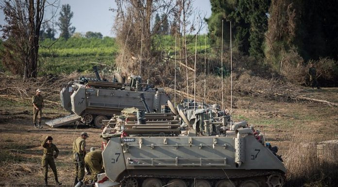 IDF forces seen gathering near the border with Gaza in Southern Israel on November 13, 2018. Photo by Hadas Parush/Flash90