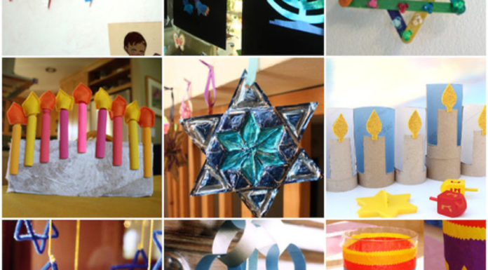 A collage of Hanukkah crafts projects for children. Credit: Pinterest.