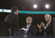 Then-House Majority Leader Kevin McCarthy and House Minority Whip Steny Hoyer interviewed on the stage at the 2016 AIPAC Policy Conference. Credit: Lorie Shaull/Flickr.