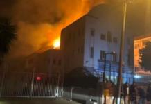 The Arthurs Road synagogue in Cape Town was set ablaze on Dec. 4, 2018, destroying four Torah scrolls. Credit: Screenshot.