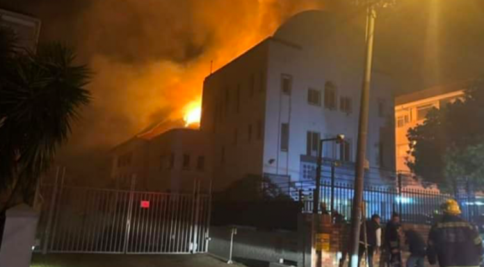 The Arthurs Road synagogue in Cape Town was set ablaze on Dec. 4, 2018, destroying four Torah scrolls. Credit: Screenshot.