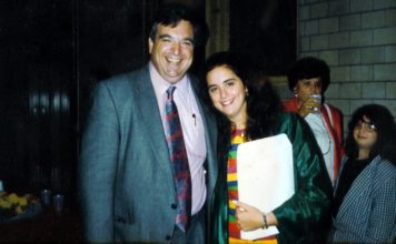 The last photo taken of Stephen M. Flatow with his daughter, Alisa, who was killed in April of 1995 in a terror attack in Israel along with seven others. Credit: Courtesy.