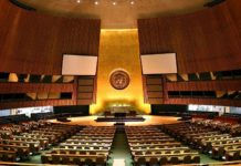 A view of the UN General Assembly hall. Credit: Wikimedia Commons.