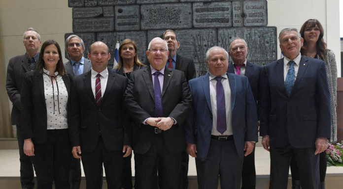 President Rivlin with Minister of Education Naftali Bennet, Professor Dan Schechtman and the 2019 Wolf Prize winners. Photo: GPO/Mark Neiman.
