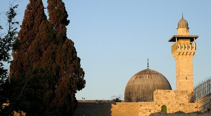 The Al-Aqsa mosque in the Temple Mount compound, seen from the Western Wall Plaza. Credit: Wikimedia Commons/Mark A. Wilson (Department of Geology, The College of Wooster).