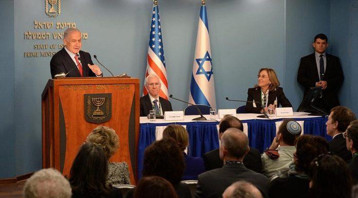 Israeli Prime Minister Benjamin Netanyahu addressing leaders in Jerusalem from the American Israel Public Affairs Committee. Credit: Haim Zach/GPO.