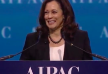 Sen. Kamala Harris (D-Calif.) addresses the 2017 AIPAC Policy Conference in Washington, D.C. Credit: Screenshot.
