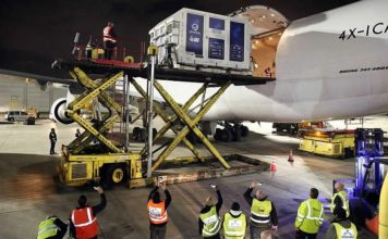 """Packed inside a temperature-controlled shipping container, Israel's first lunar spacecraft, named """"Beresheet,"""" was loaded onto a cargo plane at Ben-Gurion International Airport on Jan. 17, 2019, to be flown to Florida ahead of its scheduled launch in mid-February. Photo by Eliran Avital."""
