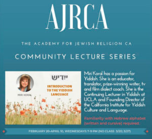 AJRCA Community Lecture Series: Introduction to the Yiddish Language