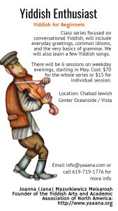 """Yiddish for Beginners"" class series focused on conversational Yiddish"
