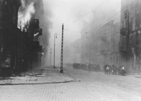 Photograph from SS General Juergen Stroop's report showing the Warsaw ghetto after the German suppression of the ghetto uprising. [LCID: 34091a]