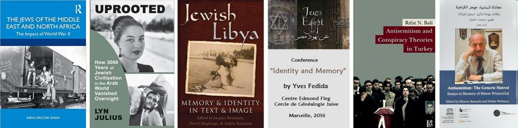 """Publications by Reeva Spector Simon, Lyn Julius, David Meghnagi, Yves Fedida and Rifat Bali, plus the Arabic version of the Simon Wiesenthal Centre's book """"Antisemitism: The Generic Hatred"""", edited by Shimon Samuels and the late Esther Webman. This book exists also in English, French, Russian and Spanish, each version adapted to its regional language zone."""