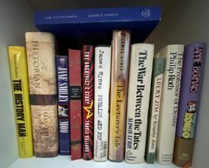 Author's academic novel bookshelf with 'The Netanyahus' on top